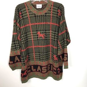 Vintage | Oversized Sweater Horse Plaid